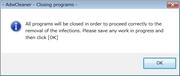 「Clean」ボタンをクリックすると、起動プログラムの停止確認画面が表示される