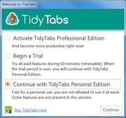 "Personal Edition(フリー版)で使用するには""Continue with TidyTabs ...""を選択"